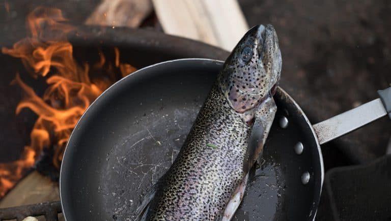 Fisch in Eisenpfanne über Feuerstelle