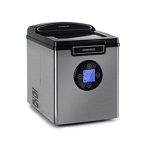 Klarstein Icemeister 2G Eiswürfelmaschine, 12 kg / 24 Stunden, 6-10 Minuten Produktionszeit, 3 Eiswürfel-Größen, 1, 8 Liter Wassertank, LCD Display, Eiswürfelbereiter, Ice Cube maker, silber