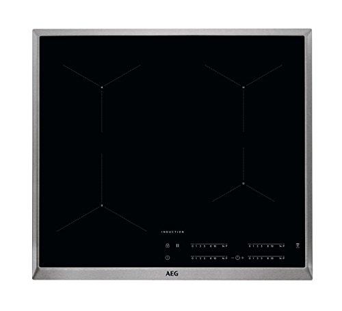 AEG IKB64431XB Elektro-Kochfeld / Induktionskochfeld mit Hob²Hood-Funktion / autarkes Kochfeld / Edelstahlrahmen / Glasfarbe schwarz / 60 cm
