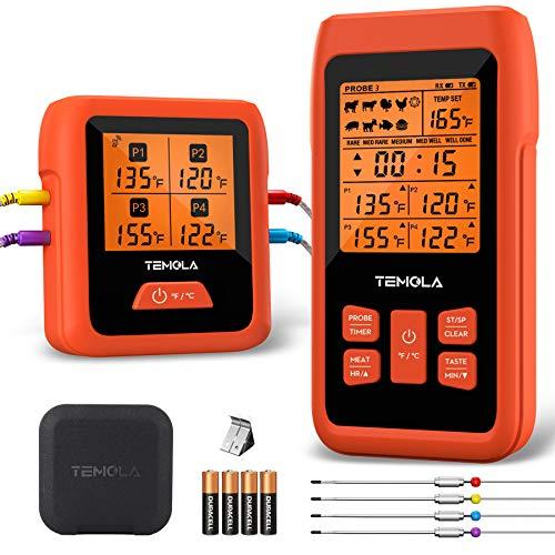 Grillthermometer kabellos Fleischthermometer, TM40 Bratenthermometer mit 4 Temperaturfühlern, FNST Bildschirm 490FT Fernbereich Grill thermometer digital für BBQ Grill Smoker Steak(Mit EPP Kasten)